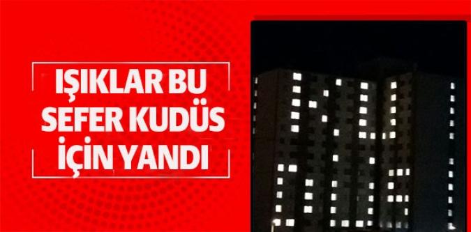 """YÜZLERCE ÖĞRENCİ KALDIKLARI BİNAYI """"KUDÜS"""" YAZISIYLA IŞIKLANDIRDI"""