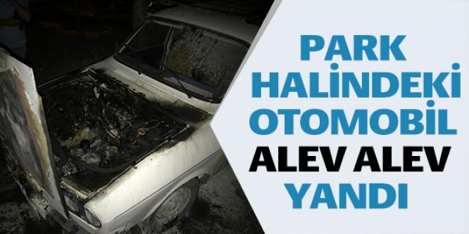 PARK HALİNDEKİ OTOMOBİL ALEV ALEV YANDI