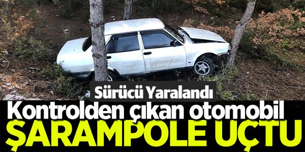 KONTROLDEN ÇIKAN OTOMOBİL  ŞARAMPOLE YUVARLANDI