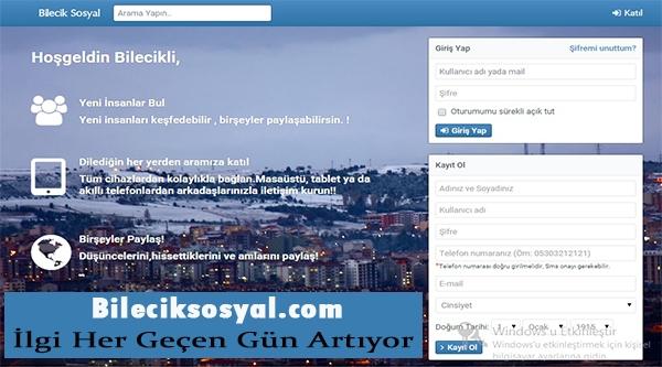 BİLECİKSOSYAL.COM ADLI PAYLAŞIM SİTESİNE İLGİ YOĞUN