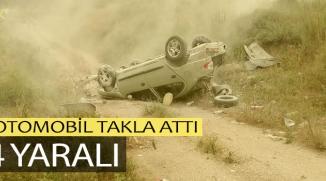 BİLECİK'TE OTOMOBİL TAKLA ATTI: 4 YARALI