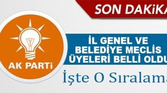 AK PARTİ'NİN İL GENEL VE BELEDİYE MECLİS ÜYELERİ BELLİ OLDU