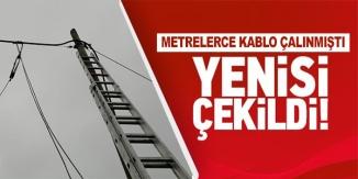 ÇALINAN TELEFON KABLOLARININ YERİNE YENİSİ BAĞLANDI
