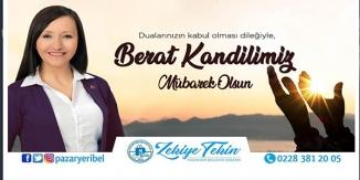 """PAZARYERİ BELEDİYE BAŞKANI """"ZEKİYE TEKİN""""İN KANDİL MESAJI"""