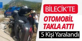 BİLECİK'TE OTOMOBİL TAKLA ATTI