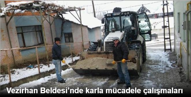 VEZİRHAN BELDESİ'NDE KARLA MÜCADELE ÇALIŞMALARI
